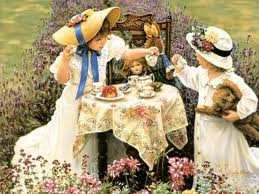 "I staged numerous ""high society"" tea parties as a child for my family, stuffed teddy bears and my dolls"