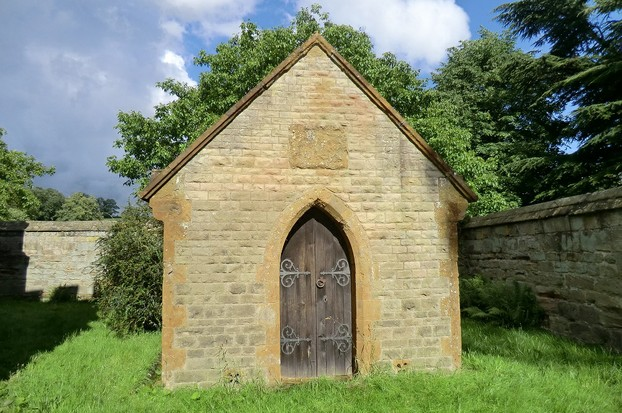 Image: Sandstone mausoleum at Staunton Harold Church.