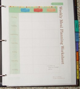 Weekly meal planner page