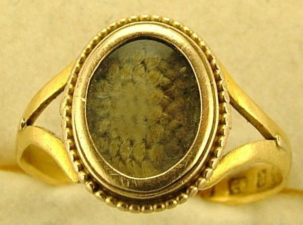 Victorian Mourning Ring with Finely Woven Hair