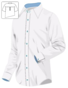 White Dress Shirt with Blue Trimmings