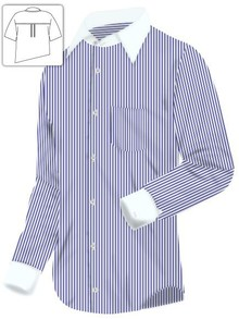 Blue and White Stripe Executive Dress Shirt