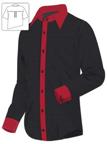 Black Dress Shirt with Red Contrast Design