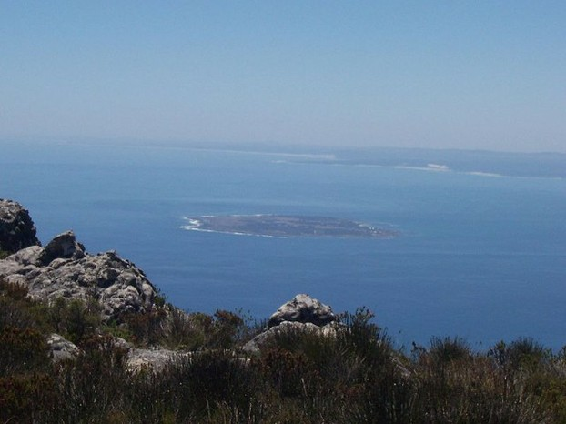View of Robben Island from Table Mountain