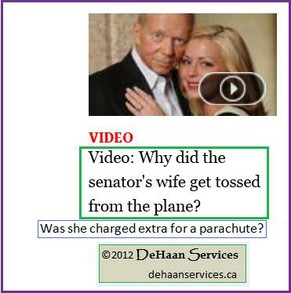 Wife of Senator Thrown from Plane