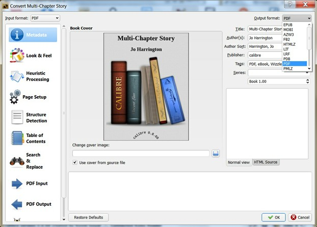 Image: Converting a PDF eBook in Calibre