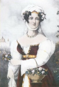 Engraving of Laskarina Bouboulina, heroine of the Greek War of Independence