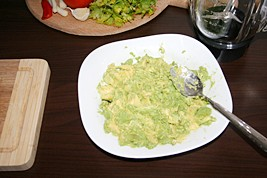 4. Mash avocado; mix with lime juice