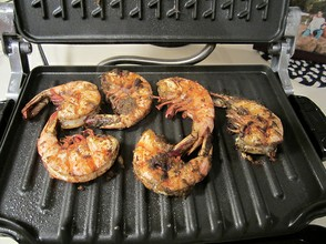 Shrimp Cooking on Electric Grill