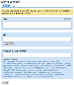 Reddit's Submit Screen