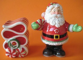 Santa with Ribbon Candy Salt and Pepper Shaker Set