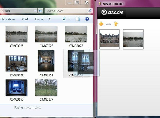 Image:  Dragging and dropping images with Zazzle Uploader