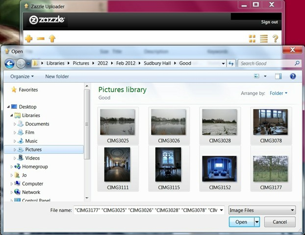Image:  Using the plus button to add images to Zazzle Bulk Image Uploader