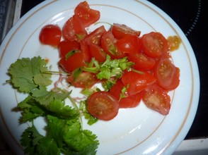 Tomato and chopped coriander
