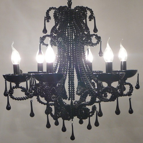 Black Chandliers Create a Mysterious Mood
