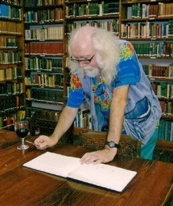 Signing the English Library guestbook