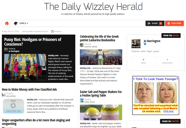 Image: Launch Edition of the Daily Wizzley Herald