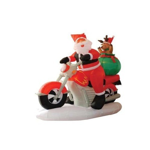 Inflatable Santa Claus on a Motorcycle