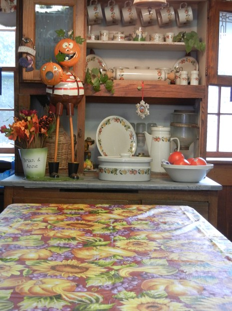 My Kitchen Table with Autumn Vinyl Tablecloth