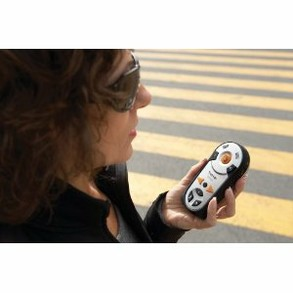 Visually impaired woman using a GPS