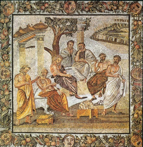 Plato's Academy as depicted on a floor mosaic in Pompei