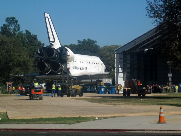 2:23 PM. The Space Shuttle Endeavour finally comes to rest outside its new home, the Samuel Oschin Pavilion.