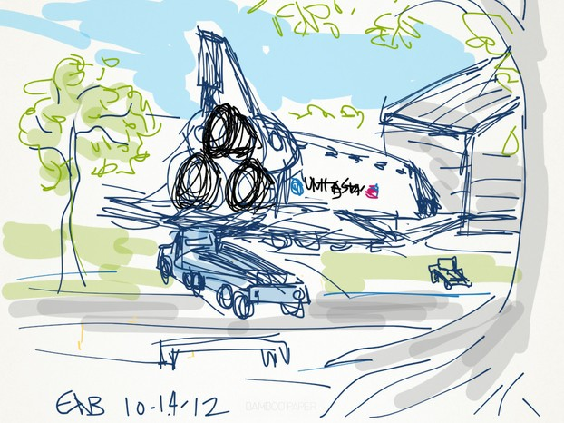 Drawing: The Space Shuttle Endeavour Outside Its New Home
