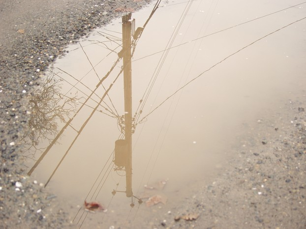 Powerpole in puddle