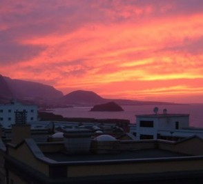Sunset over Garachico as seen from San Marcos