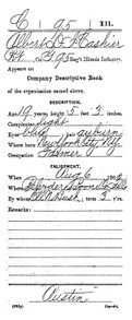 Image:  Albert Cashier's Civil War Sign Up Document