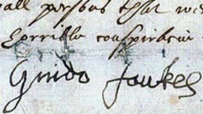 Guy Fawkes's signature before torture.
