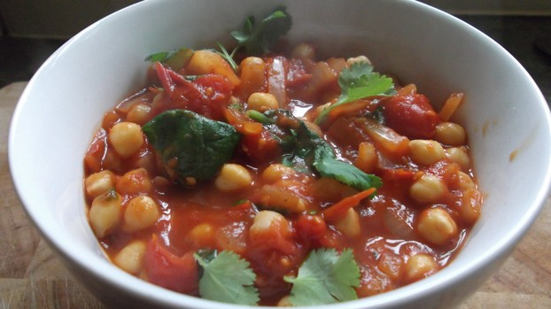 Chick pea and spinach curry with coriander.
