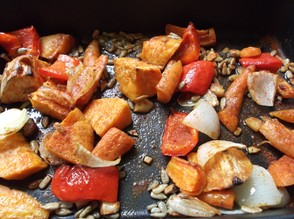 Sprinkle the paprika over the vegetables and return to the oven for 5 minutes.