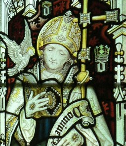 Stained glass window in Jesus College Chapel, Oxford, showing St David. Late 19th century.