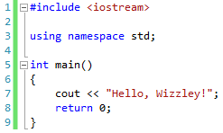"A program that displays ""Hello, Wizzley!"""