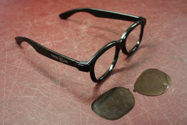 Pop out the lenses of your cheap sunglasses (or any you wish to use) and use them to cut out a template of the lenses