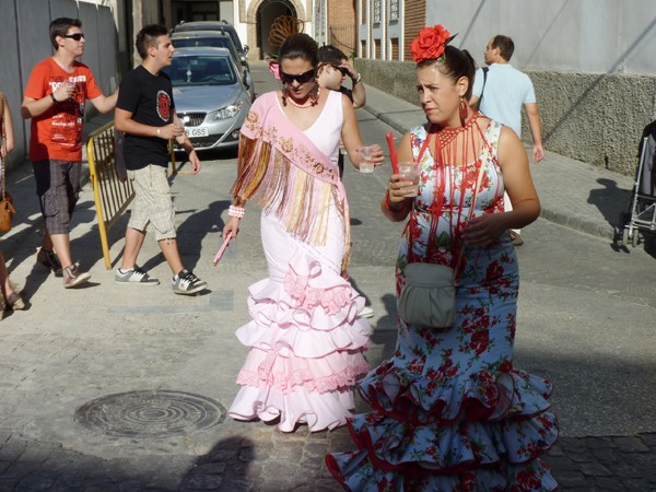 Women wearing flamenco dresses in Andalusia