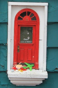 Close-up of Red Shoes Fairy Door
