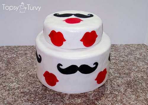 Mustache and Lips Cake