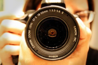 The lens of a DSLR camera