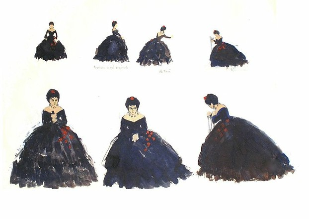 Paintings of soprano Virginia Zeani as Violetta in La Traviata Act ll scene 2 at the Royal Opera House Covent Garden Lo