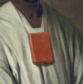 Detail of Diallo's portrait showing pouch for Qu'ran