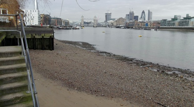 Looking down onto the Thames foreshore