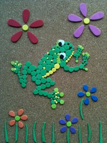 Combination Pointillism Mosaic Picture of a Frog by Cheryl Paton