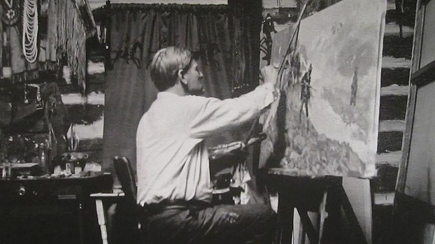 C W Russell in his Studio