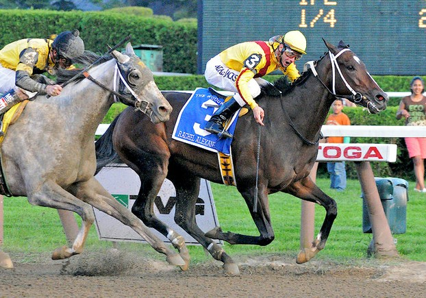 Rachel Alexandra, inbred 2x to Northern Dancer, defeating Macho Uno, descended from Blushing Groom & Mahmoud