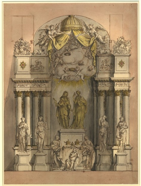 Design for a Monument for King William III and Queen Mary II by Grinling Gibbons