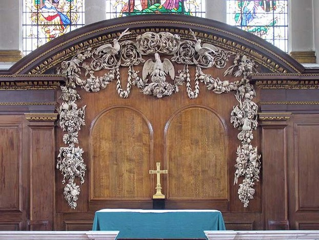 St James Church, Piccadilly, Grinling Gibbons Carved Reredos