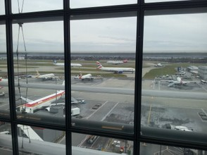 Views from the Terrace lounge onto the tarmac at LHR