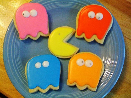 Pac-Man and Ghost Cookies